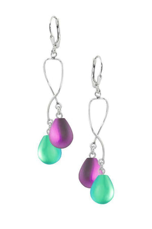 Sterling Silver-Spiral Earrings-Green/Pink-Frosted-Leightworks