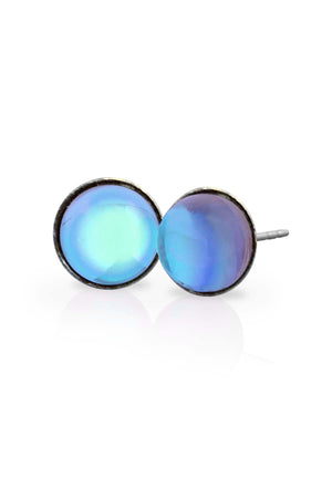 Sterling Silver-Stud Earrings-Aqua-Polished-Leightworks