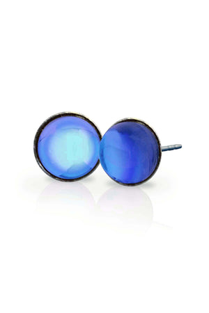Sterling Silver-Stud Earrings-Blue-Polished-Leightworks