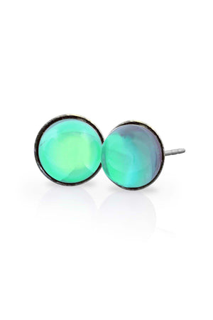 Sterling Silver-Stud Earrings-Green-Polished-Leightworks
