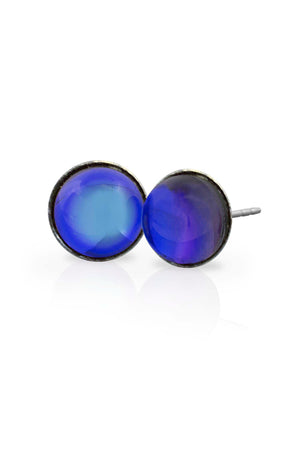 Sterling Silver-Stud Earrings-Violet-Polished-Leightworks