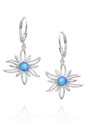 Sterling Silver-Sun Earrings-blue-frosted-Leightworks