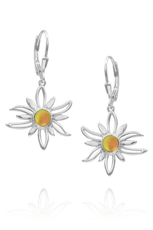 Sterling Silver-Sun Earrings-fire-frosted-Leightworks