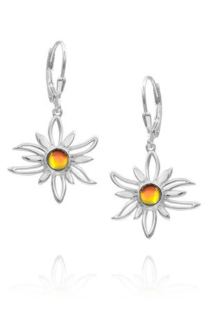 Sterling Silver-Sun Earrings-fire-polished-Leightworks