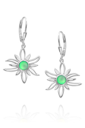 Sterling Silver-Sun Earrings-green-frosted-Leightworks