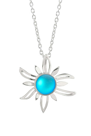 Sterling Silver-Sun Pendant-Necklace Charm-Aqua-Frosted-Leightworks