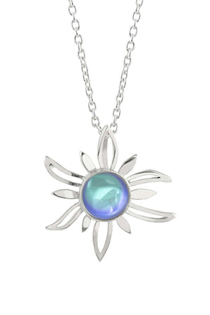 Sterling Silver-Sun Pendant-Necklace Charm-Aqua-Polished-Leightworks