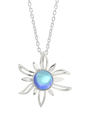 Sterling Silver-Sun Pendant-Necklace Charm-Blue-Polished-Leightworks