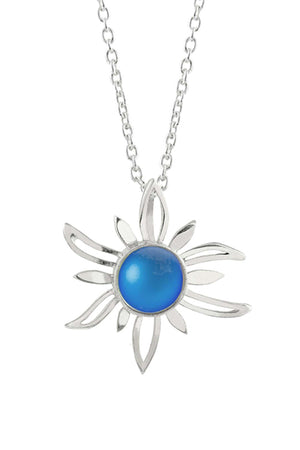 Sterling Silver-Sun Pendant-Necklace Charm-Blue-Frosted-Leightworks