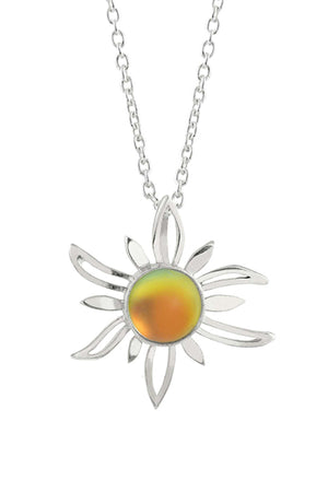 Sterling Silver-Sun Pendant-Necklace Charm-Fire-Frosted-Leightworks