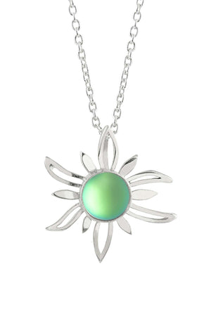Sterling Silver-Sun Pendant-Necklace Charm-Green-Frosted-Leightworks