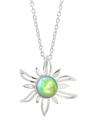 Sterling Silver-Sun Pendant-Necklace Charm-Green-Polished-Leightworks