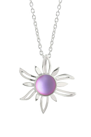 Sterling Silver-Sun Pendant-Necklace Charm-Pink-Frosted-Leightworks