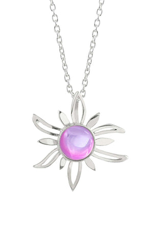 Sterling Silver-Sun Pendant-Necklace Charm-Pink-Polished-Leightworks