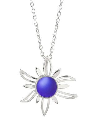 Sterling Silver-Sun Pendant-Necklace Charm-Violet-Frosted-Leightworks