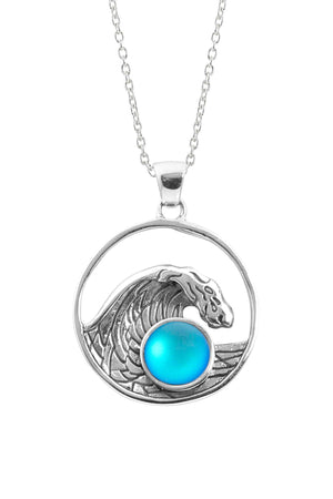 Sterling Silver-Swell Pendant-Necklace Charm-Aqua-Frosted-Leightworks