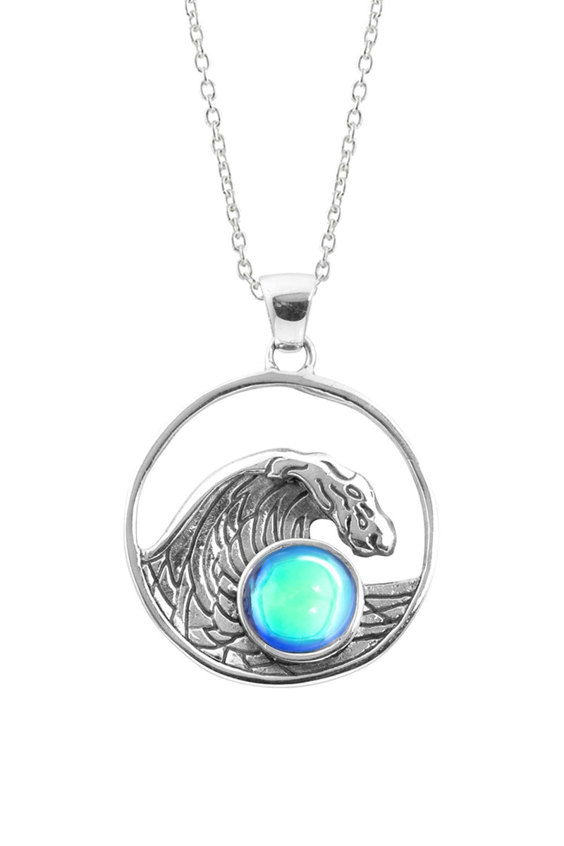 Sterling Silver-Swell Pendant-Necklace Charm-Aqua-Polished-Leightworks