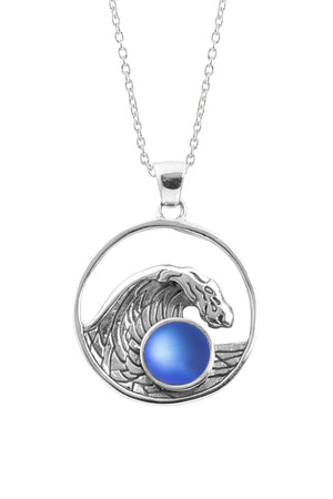 Sterling Silver-Swell Pendant-Necklace Charm-Blue-Frosted-Leightworks