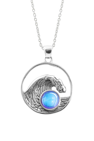 Sterling Silver-Swell Pendant-Necklace Charm-Blue-Polished-Leightworks
