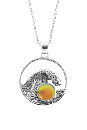 Sterling Silver-Swell Pendant-Necklace Charm-Fire-Frosted-Leightworks