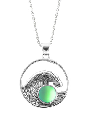 Sterling Silver-Swell Pendant-Necklace Charm-Green-Frosted-Leightworks