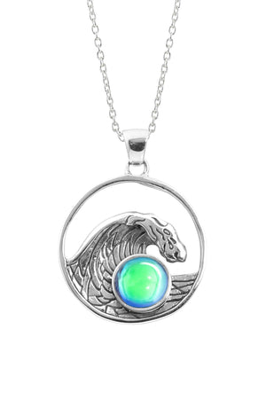 Sterling Silver-Swell Pendant-Necklace Charm-Green-Polished-Leightworks