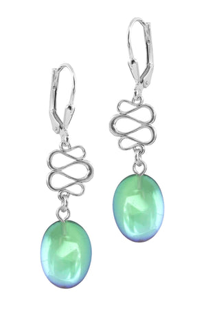 Sterling Silver-Swirl Ext. Earrings-Green-Polished-Leightworks