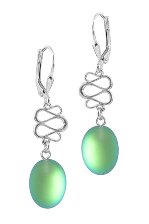 Sterling Silver-Swirl Ext. Earrings-Green-Frosted-Leightworks