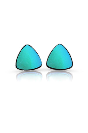 Sterling Silver-Triangle Stud Earrings-Aqua-Frosted-Leightworks