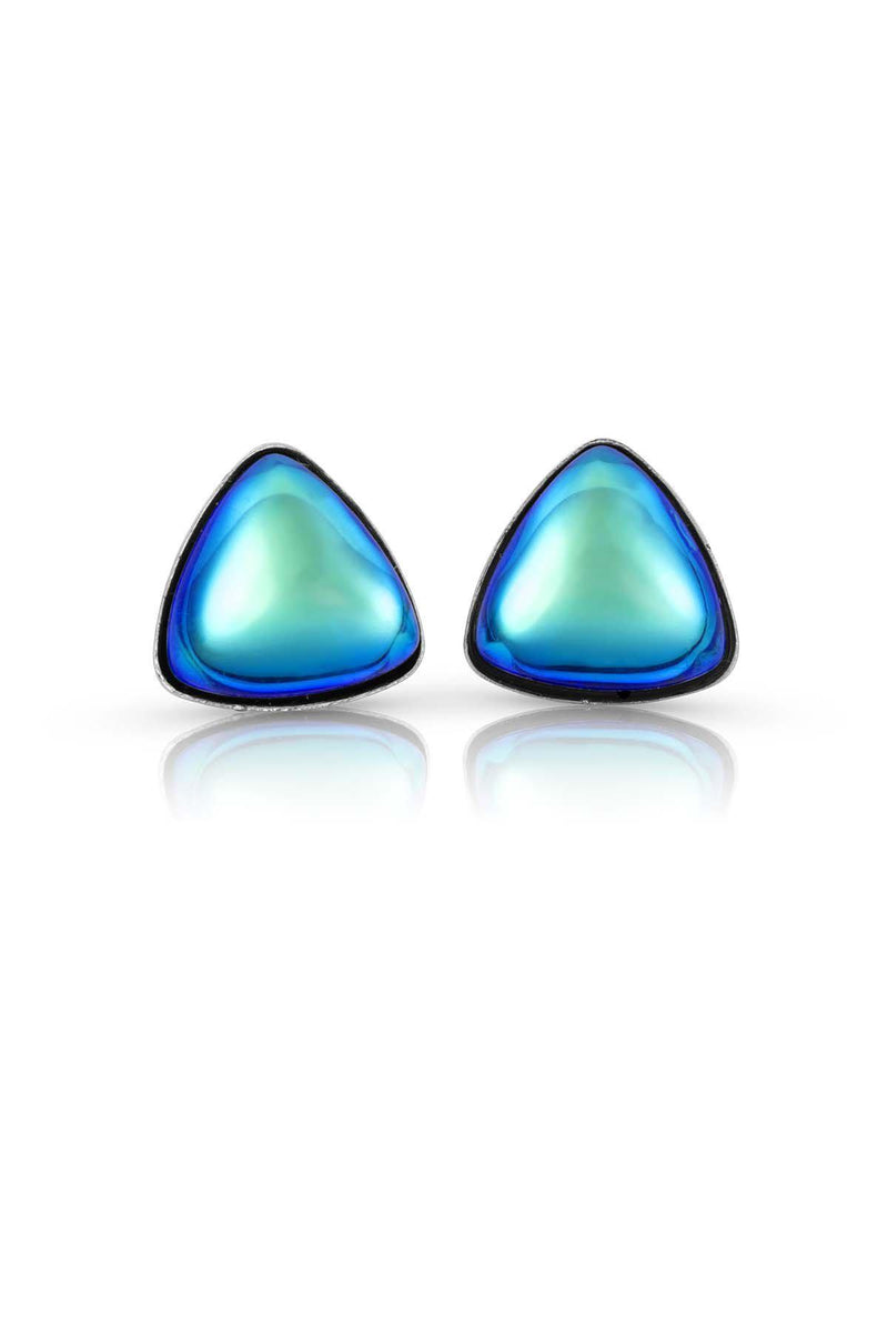 Sterling Silver-Triangle Stud Earrings-Aqua-Polished-Leightworks