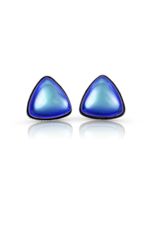 Sterling Silver-Triangle Stud Earrings-Blue-Polished-Leightworks