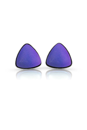 Sterling Silver-Triangle Stud Earrings-Violet-Frosted-Leightworks