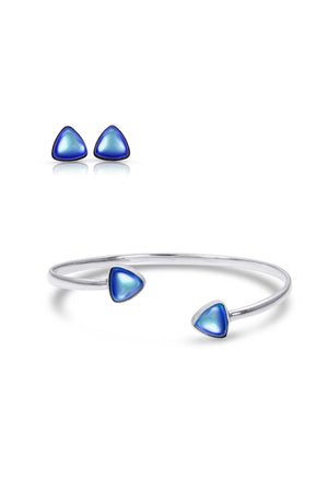 Sterling Silver-Triangle Studs and Bracelet set-blue-polished-Leightworks