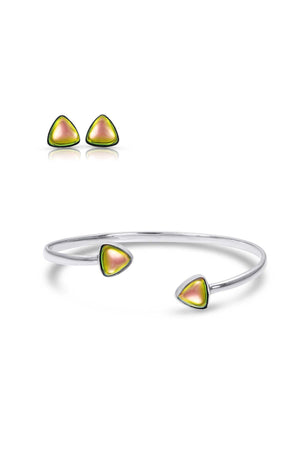 Sterling Silver-Triangle Studs and Bracelet set-fire-polished-Leightworks