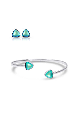 Sterling Silver-Triangle Studs and Bracelet set-green-polished-Leightworks