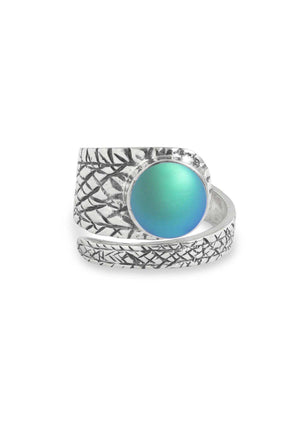 Handmade Sterling Silver-Turtle Ring-Aqua-Frosted-Leightworks