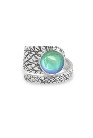 Handmade Sterling Silver-Turtle Ring-Aqua-Polished-Leightworks