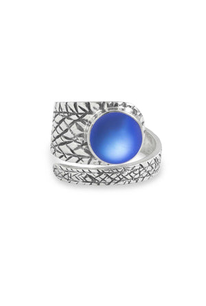Handmade Sterling Silver-Turtle Ring-Blue-Frosted-Leightworks