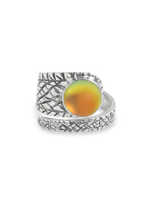 Handmade Sterling Silver-Turtle Ring-Fire-Frosted-Leightworks
