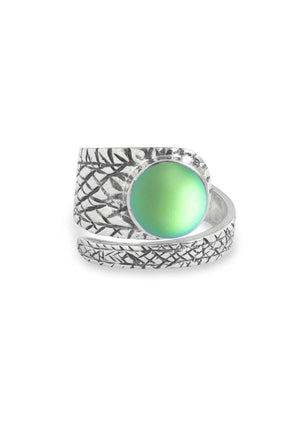 Handmade Sterling Silver-Turtle Ring-Green-Frosted-Leightworks