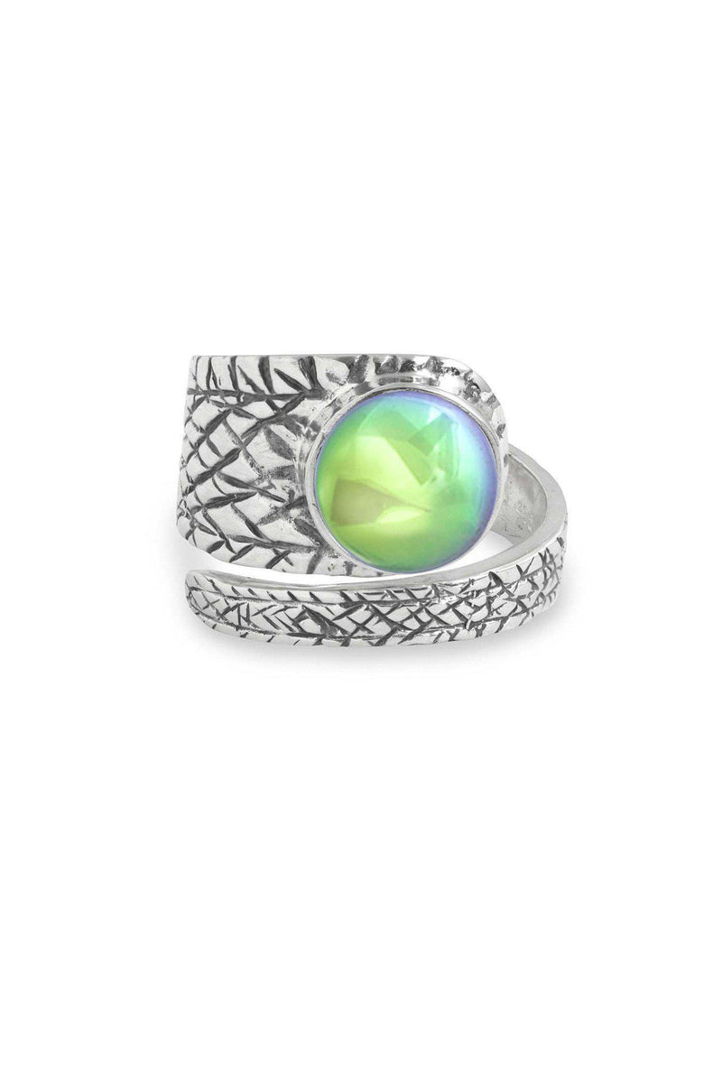Handmade Sterling Silver-Turtle Ring-Green-Polished-Leightworks