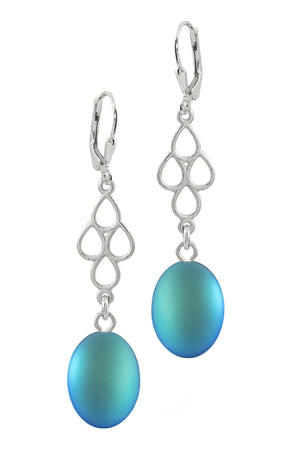Sterling Silver-Waterfall Ext. Earrings-Aqua-Frosted-Leightworks