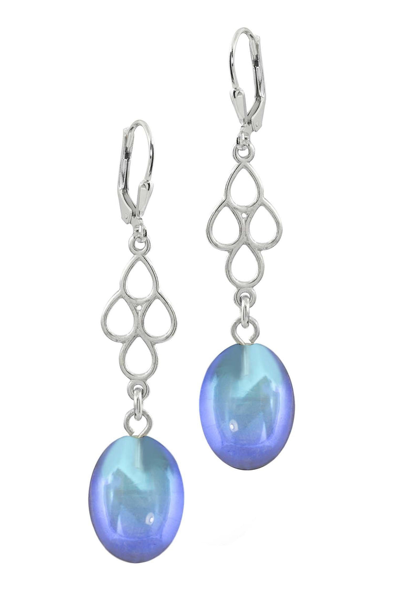 Sterling Silver-Waterfall Ext. Earrings-Blue-Frosted-Leightworks