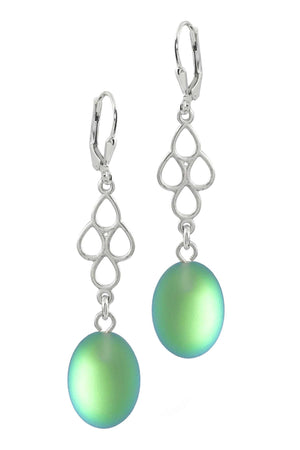 Sterling Silver-Waterfall Ext. Earrings-Green-Frosted-Leightworks