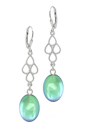 Sterling Silver-Waterfall Ext. Earrings-Green-Polished-Leightworks