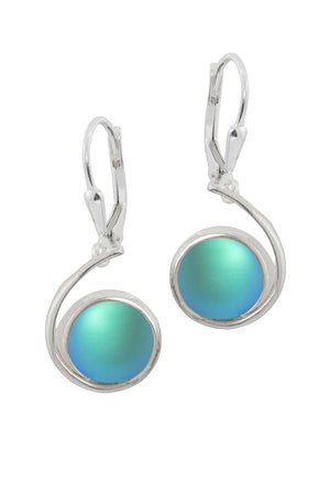 Sterling Silver-Wave Earrings-Aqua-Frosted-Leightworks