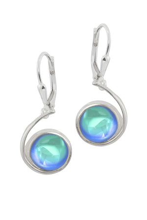 Sterling Silver-Wave Earrings-Aqua-Polished-Leightworks
