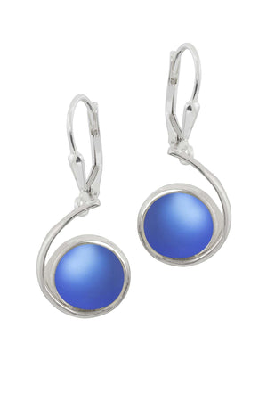 Sterling Silver-Wave Earrings-Blue-Frosted-Leightworks