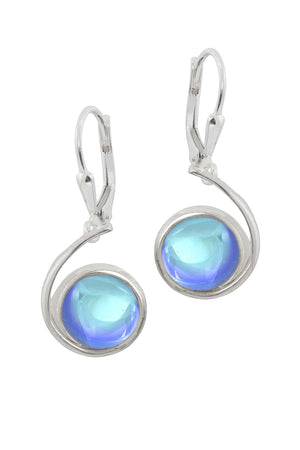 Sterling Silver-Wave Earrings-Blue-Polished-Leightworks