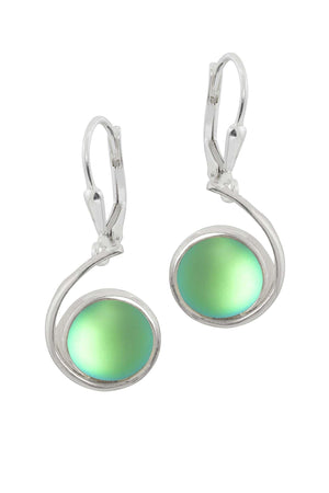 Sterling Silver-Wave Earrings-Green-Frosted-Leightworks